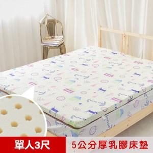 【米夢家居】夢想家園-冬夏兩用馬來西亞5CM乳膠床(單人3尺-白日夢)