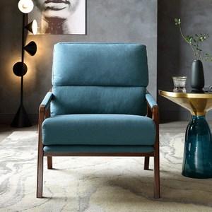 林氏木業北歐天然棉麻實木單人扶手沙發椅RBG3Q-深藍色