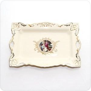 HONEY COMB 象牙瓷鎏金造型方盤/盤飾/托盤 NA11