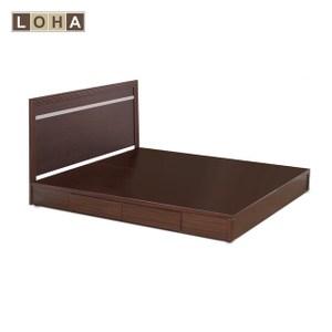【LOHA】品味生活5尺雙人房間組-床片+抽屜床底(二色)胡桃