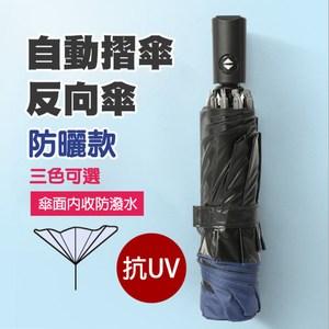 【幸福青鳥】職人手作一鍵開收摺疊反向傘/晴雨傘/自動陽傘S2_黑膠防曬深色黑膠