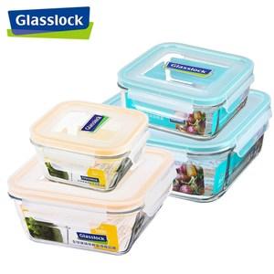 【Glasslock】強化玻璃微波保鮮盒 - 方型收納4件組