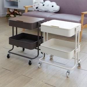 【H&R安室家】工業風上木板雙層收納置物籃/推車白