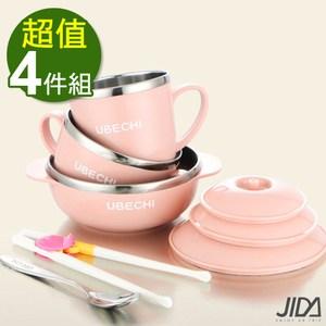【佶之屋】馬卡龍純色304不鏽鋼餐具湯匙學習筷組-4組粉x2+綠x2