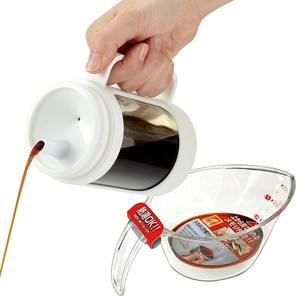 【特惠組】日本ASVEL新色彩350ml調味油玻璃壺+300ml量杯白色