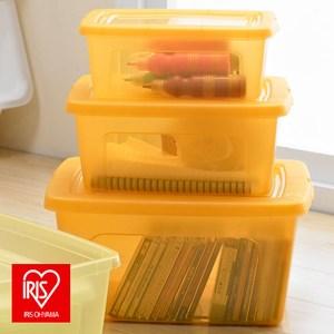 日本 IRIS 堆疊收納盒 3入組 橘色款 [三種尺寸蓋子附屬 可堆疊]