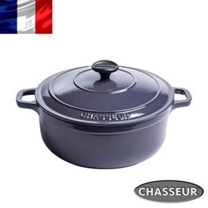法國【CHASSEUR】獵人琺瑯鑄鐵圓彩鍋22cm(茄子紫)