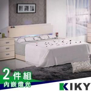 佐佐木內嵌燈光雙人5尺床架-床頭片+床底(胡桃色)