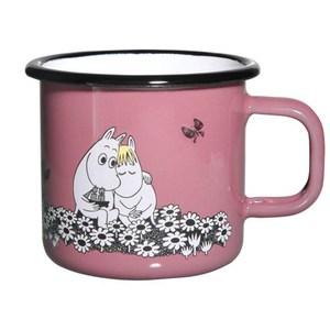 【芬蘭Muurla】嚕嚕米系列-永遠在一起琺瑯馬克杯370cc-粉紅色/咖啡杯