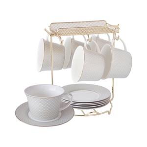 瓦格新骨瓷六杯盤組附金架