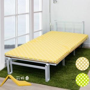 【KOTAS】 MIT日式冬夏大青透氣床墊冬夏三折-(兩色)-黃黃單人