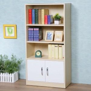 Homelike 清新森林雙門三格書櫃(楓木+白色)