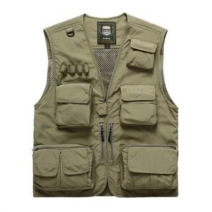 PUSH!戶外休閒用品多功能15口袋背心夾克F25卡其卡其L