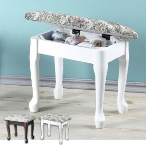【Homelike】典雅歐風掀蓋化妝椅(二色可選)白色