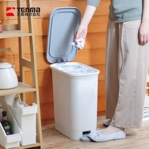 【日本天馬】dustio分類腳踏抗菌垃圾桶(深型)-20L-白灰單一規格