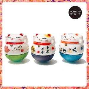 摩達客 農曆新年春節 迷你不倒翁招財貓陶瓷-開運三入組(擺飾桌飾)