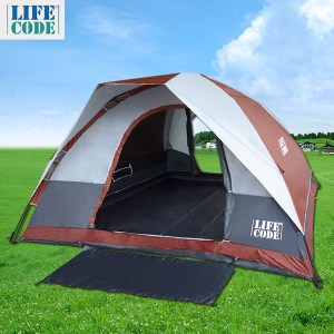 LIFECODE《立可搭》豪華雙門5-6人雙層速搭帳篷-高183cm (磚紅)