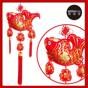 【摩達客】農曆春節新年元宵 絨金刺繡亮片魚福三流蘇吊飾掛飾