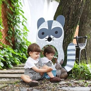 韓國品牌 NINO 兒童彩繪壁貼鏡 淘氣小浣熊