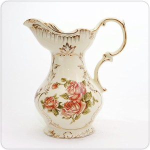 HONEY COMB 歐式象牙瓷單提把玫瑰花器 NA32
