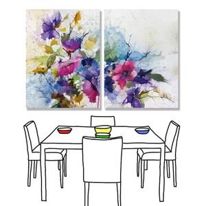 【24mama掛畫】二聯式油畫布無框畫 30x40cm-五顏六色的花油畫布無時鐘