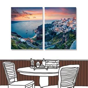 【24mama 掛畫】二聯式 油畫布 無框畫 30x40cm-愛琴海油畫布無時鐘愛琴海01