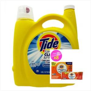 美國 Tide濃縮洗衣膏-清新微風(138oz)*1+洗衣槽洗劑(75g)*8包
