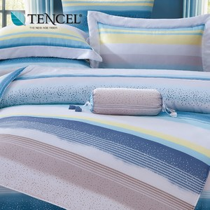 【貝兒居家寢飾生活館】100%萊賽爾天絲兩用被床包組(加大雙人/伊凡莎藍)