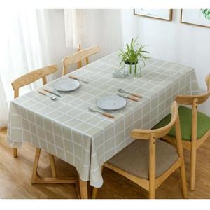 【三房兩廳】北歐風格防水防油桌巾/桌布-140X180cm(大格米黃)