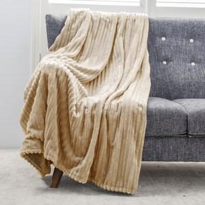 可機洗絲絨雙面毯 榛果棕 180x150cm
