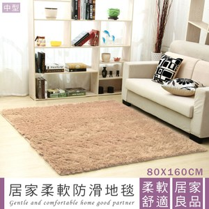 IHouse-家用客廳臥室柔軟防滑地毯-中型 (80x160cm)綠色