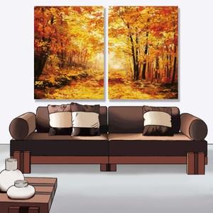 【24mama 掛畫】二聯式油畫布無框畫 30x40cm-秋天森林01油畫布無時鐘
