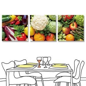 【24mama 掛畫】三聯式 油畫布 無框畫30x30cm-蔬菜和水果油畫布無時鐘
