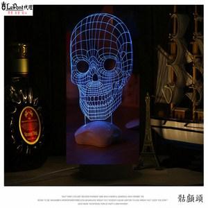 北歐3D立體 USB LED創意小夜燈-骷髏頭