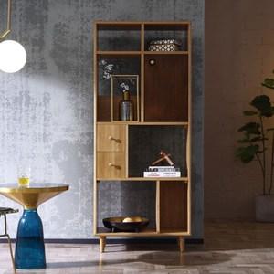 林氏木業北歐雙色白橡木雙抽單門高書櫃EH3X-胡桃色+原木色