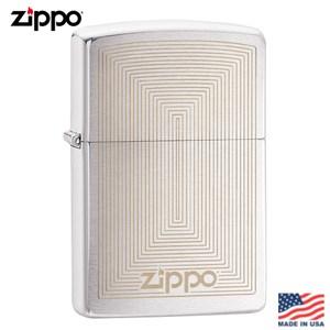 【Zippo】美系 矩型幾何-雷雕拉絲鍍鉻防風打火機#29920