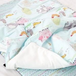 韓國Kangaruru袋鼠寶寶防蹣安全寢具抗菌防螨寶貝毯【藍色棉花糖牧場】