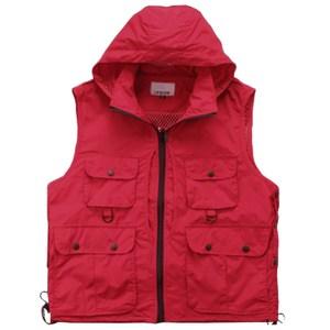 【PUSH!機能面料衣】可拆卸防風帽背心(紅XXL)F12-7
