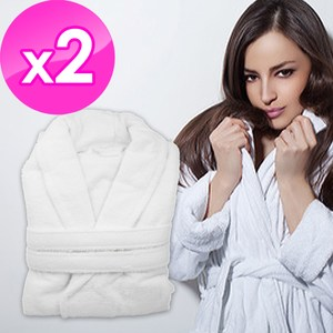 【花季】純品良織-五星飯店款100%純棉舒柔保暖歐式浴袍*2件組