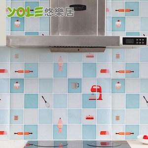 【YOLE悠樂居】繽紛創意設計款廚房自黏防油壁貼(2入)-滋滋烘焙家