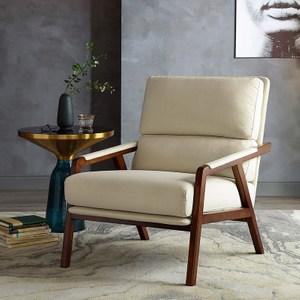 林氏木業北歐天然棉麻實木單人扶手沙發椅RBG3Q-米白色