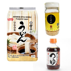日本白菊-伊之助美味烏龍麵1入+日本丸天竹籠烏龍麵沾醬1入+雲林源順熟炒白芝麻粒1入