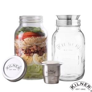 【KILNER】密封沙拉罐1L(內含醬料杯)+螺旋切絲隨身沙拉罐二入組