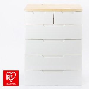 日本 IRIS 雙抽五層抽屜收納櫃 寬72公分 白色 MU-7242