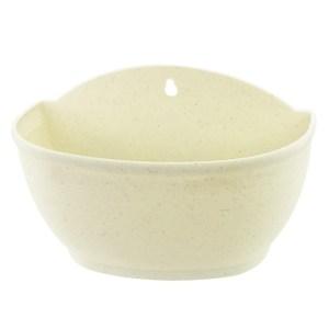 塑質素陶壁盆中 白