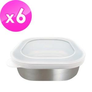 日本ECHO 不銹鋼方型保鮮盒附蓋(6入組)