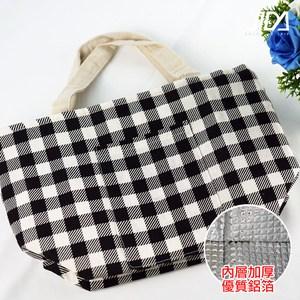 【佶之屋】黑白配棉麻大容量便當袋/保溫保冷袋(拉鍊款)-格紋款