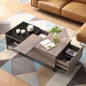 林氏木業現代簡約多格儲物鋼化玻璃茶几DV1L-胡桃木色