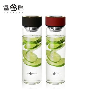 【FUSHIMA 富島】禪風雅泡茶耐熱玻璃隨手瓶550ML(2色可選)酒紅色