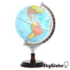SkyGlobe 12吋行政藍色海洋木質地球儀(中英文對照)